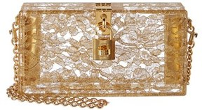 Dolce & Gabbana Dolce Box Plexi & Lace Clutch. - GOLD - STYLE