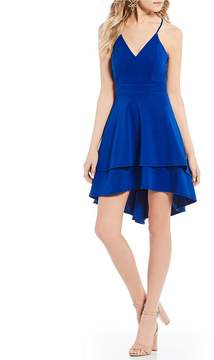 B. Darlin V-Neck Double hem High-Low Dress