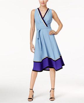 ECI Colorblocked Asymmetrical-Hem Dress