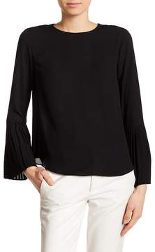 Catherine Malandrino Pleat Bell Sleeve Back Button Blouse