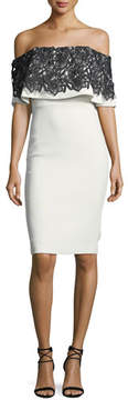 Badgley Mischka Lace-Trim Popover Sheath Dress