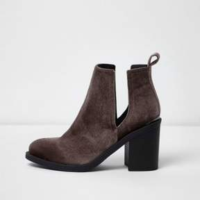 River Island Womens Brown velvet cut out boots
