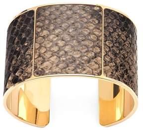 Aspinal of London Minerva Cuff Bracelet In Tan Snake
