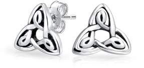 Celtic Bling Jewelry Trinity Knot Stud Earrings 925 Sterling Silver 8mm.