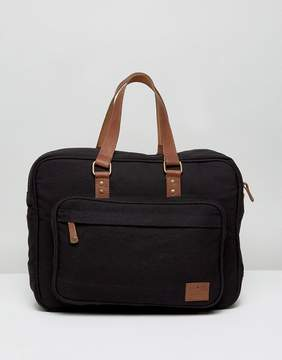 Asos Briefcase In Canvas With Leather Trims