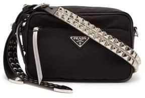 Prada New Vela Nylon Cross Body Bag - Womens - Black Silver