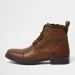 River Island Mens Brown lace-up toe cap boots