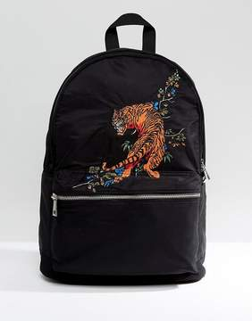 Asos Backpack In Black With Tiger Embroidery