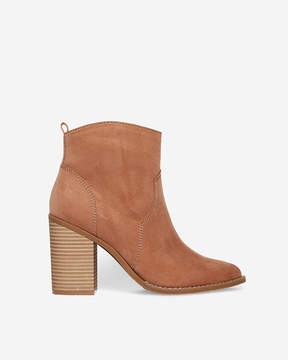Express Faux Suede Thick Heel Bootie