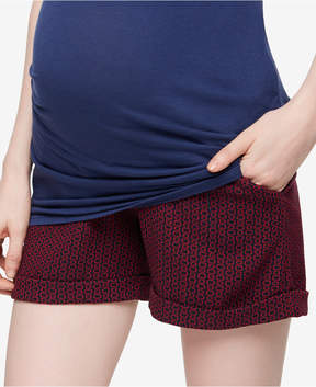 A Pea in the Pod Printed Jacquard Maternity Shorts