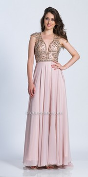 Dave and Johnny Plunging Cap Sleeve Embellished Evening Dress