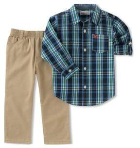 Kids Headquarters Little Boys Two-Piece Plaid Top and Pants Set