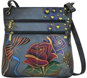 Anuschka Anna By ANNA by Hand Painted Leather Medium Crossbody 8201 (Women's)