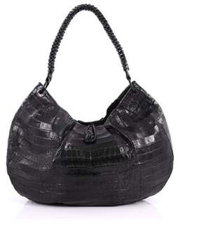 Nancy Gonzalez Pre-owned: Braided Handle Hobo Pleated Crocodile Large.