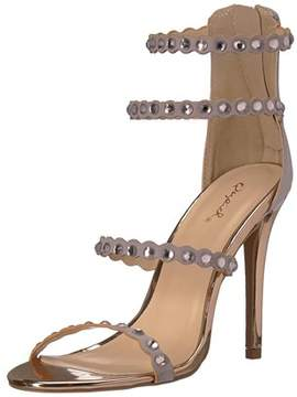 Qupid Women's Single Sole Rhinestones Heeled Sandal.