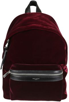 Saint Laurent Mini Velvet City Backpack - BORDEAUX - STYLE