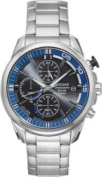 Pulsar Men's On The Go Stainless Steel Solar Chronograph Watch - PZ6021