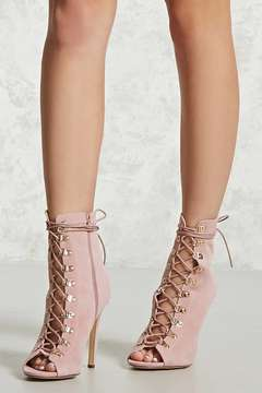 FOREVER 21 Faux Suede Lace-Up Boots