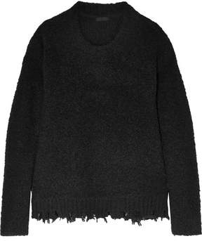 ATM Anthony Thomas Melillo Frayed Bouclé-knit Sweater - Black