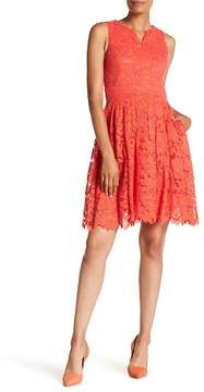 Donna Ricco Split Neck Lace Dress