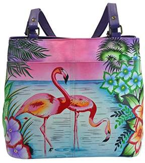 Anuschka Anna by Women's Genuine Leather Large Twin Compartment Tote Bag | Hand Painted Original Artwork | Tropical Flamingo