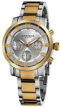 Akribos XXIV Akribos Grandiose Chronograph Silver Dial Two-tone Stainless Steel Ladies Watch AK623TT