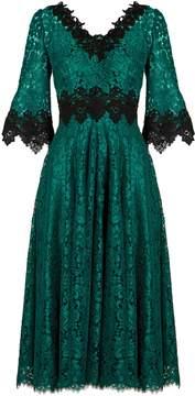 Dolce & Gabbana Teal-green V-neck lace midi dress