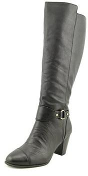 Giani Bernini Cagney Wide Calf Women Round Toe Leather Black Knee High Boot.