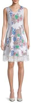 Donna Ricco Women's Scuba Laser Cut Floral Dress