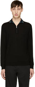 Paul Smith Black Merino Half-Zip Turtleneck