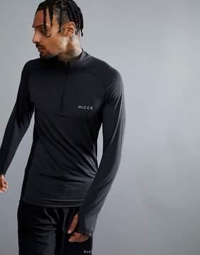 Nicce London sport sweatshirt in black with half zip