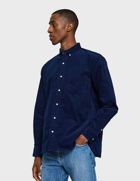 Beams Corduroy Button Down Shirt in Indigo