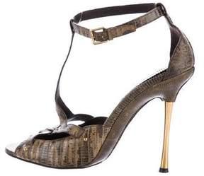 Tom Ford Lizard T-Strap Sandals