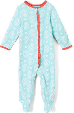 Baby Starters Turquoise & White Geometric Footie - Infant