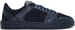 Versace Navy Leather and Suede Sneakers