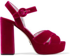 Prada Velvet Platform Sandals - Magenta