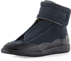 Maison Margiela Men's Dipped Suede Future High-Top Sneaker, Navy