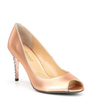 J. Renee Lucera Metallic Leather Peep-Toe Dress Pumps