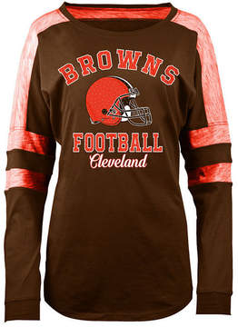 5th & Ocean Women's Cleveland Browns Space Dye Long Sleeve T-Shirt