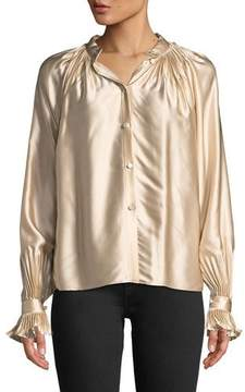 Co High-Neck Gathered Silk Blouse