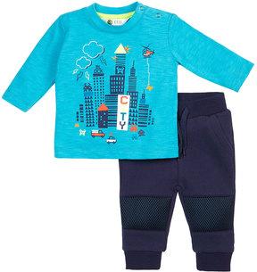 Petit Lem City Two-Piece Shirt and Pants Set, Blue