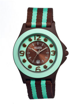 Crayo Women's Carnival Brown & Mint Nylon-Strap Watch with Date Cracr0707