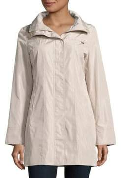 Ellen Tracy Snap Front Packable Raincoat