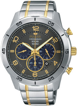 Pulsar Mens Two-Tone Chronograph Solar Watch