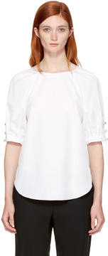 3.1 Phillip Lim White Pearl Chain Gathered Blouse
