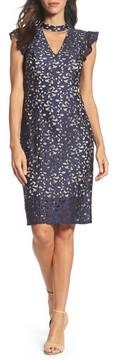 Adrianna Papell Women's Lucy Lace Choker Collar Sheath Dress