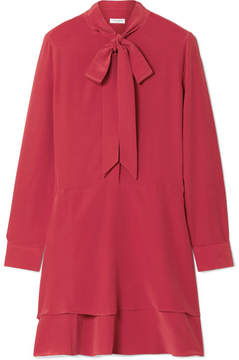 Equipment Natalia Pussy-bow Washed-silk Mini Dress - Red