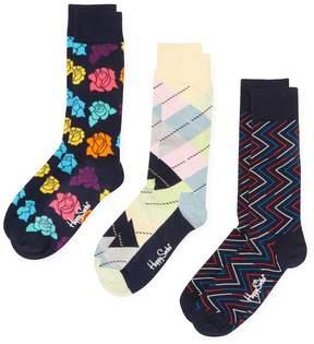 Happy Socks Men's Floral & Geometric Lines Socks (3 PK) - Size 10-13