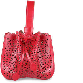 Alaia Red leather laser-cut bucket bag