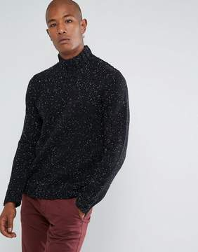 Selected Knitted High Neck Sweater In Wool Mix With Fleck Detail